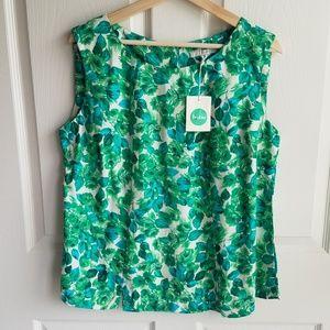 NWOT Boden Green Blue Leaf Print Tank Top Size 14